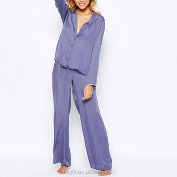 8a4761372e54 Anly 2016 Satin Piped Cheap Purple Pajama Top   Wide Leg Set - Buy ...