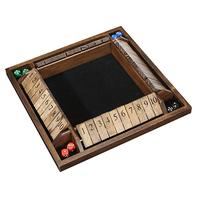 wooden manufacturer 4-player shut box wooden board game with dice