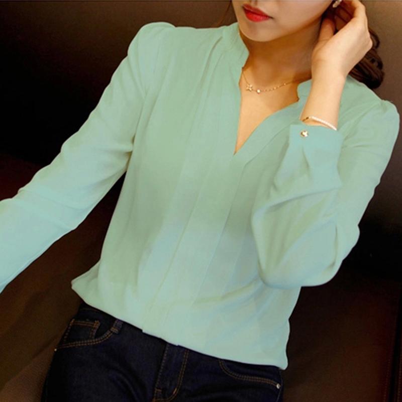 2015 womens chiffon blouse ladies White elegant v-neck blouses long sleeve chiffon shirt women office shirt plus size
