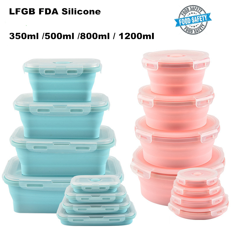 Amazon Hot New Kitchen Gadgets 2019 Food Safe Grade Walmart Folding Collapsible Silicone food storage containers with lids set