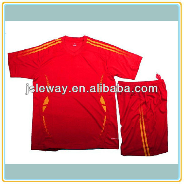 Red Colour cheap blank football jerseys/wholesales soccer uniform sets