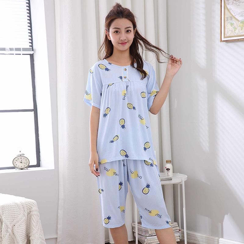 b12904b80a79 2018 Fashion Summer Women Sleep Sets Short-sleeve Home Clothes Cute Blue  Cotton Pajamas Sets Homewear Lady Sleepwear Suits 032