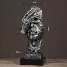VILEAD Смола 33 см тишина Золотая маска миниатюрные фигурки абстрактные тишины орнамент статуэтки маска скульптура для домашнего декора(Китай)