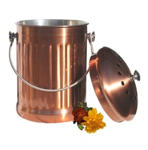 Easy Clean Compost Bin, Stainless Steel Compost Pail & Indoor Kitchen Scrap Collection Bin, Copper Color