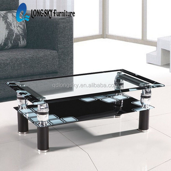 Ls 1156 Cheap Glass Coffee Table Easy Cleaning Black Tempered