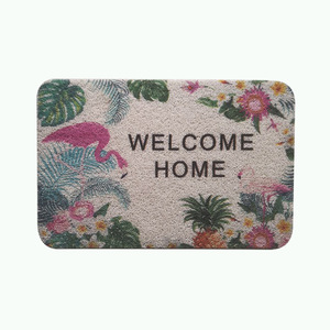 floor mat wholesaler high quality cheap colorful printed Flamingo Antiskid coil entrance pvc plastic door mat bath car mat
