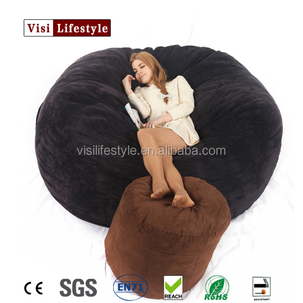 VISI 6FT Luxury Microsuede Foambag Memory Fillings European Style Living Room Furniture Floor Bed Sofa Lounge Cover Wholesale