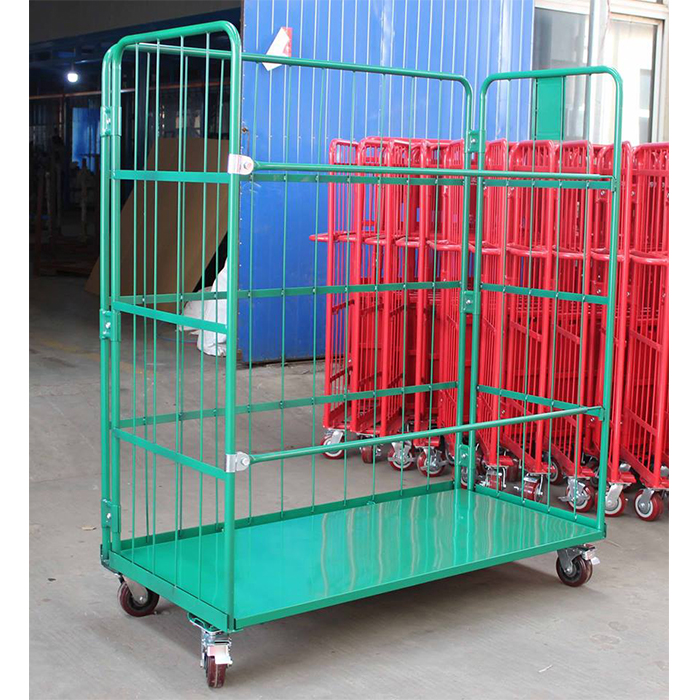 Logistic foldable nesting rolling cage security storage cart