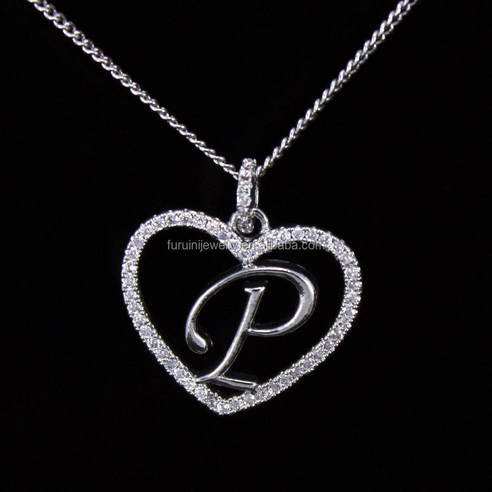 Beautiful Design 925 Silver Letter P NecklaceLetter Initial Necklace