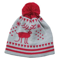 Acrylic Christmas Red Nose Deer Pom Pom Hat Beanie