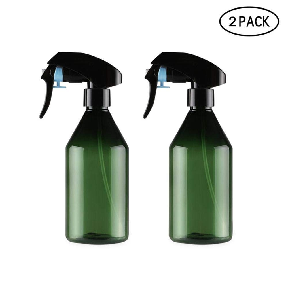 Plastic Empty Spray Bottle LONGWAY 10 Oz Refillable Spray Container Plants Super Fine Mist Trigger Sprayer Hair for Cleaning Solutions Pack of 2, Green 300ML BPA Free