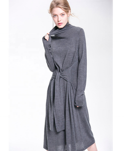Knit Skirt With High Neck Long Sleeve Large Hem And Thin Waist Band Dress
