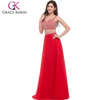 Grace karin Sexy Two-piece sweetheart Neckline long chiffon Red prom dress CL008912-3