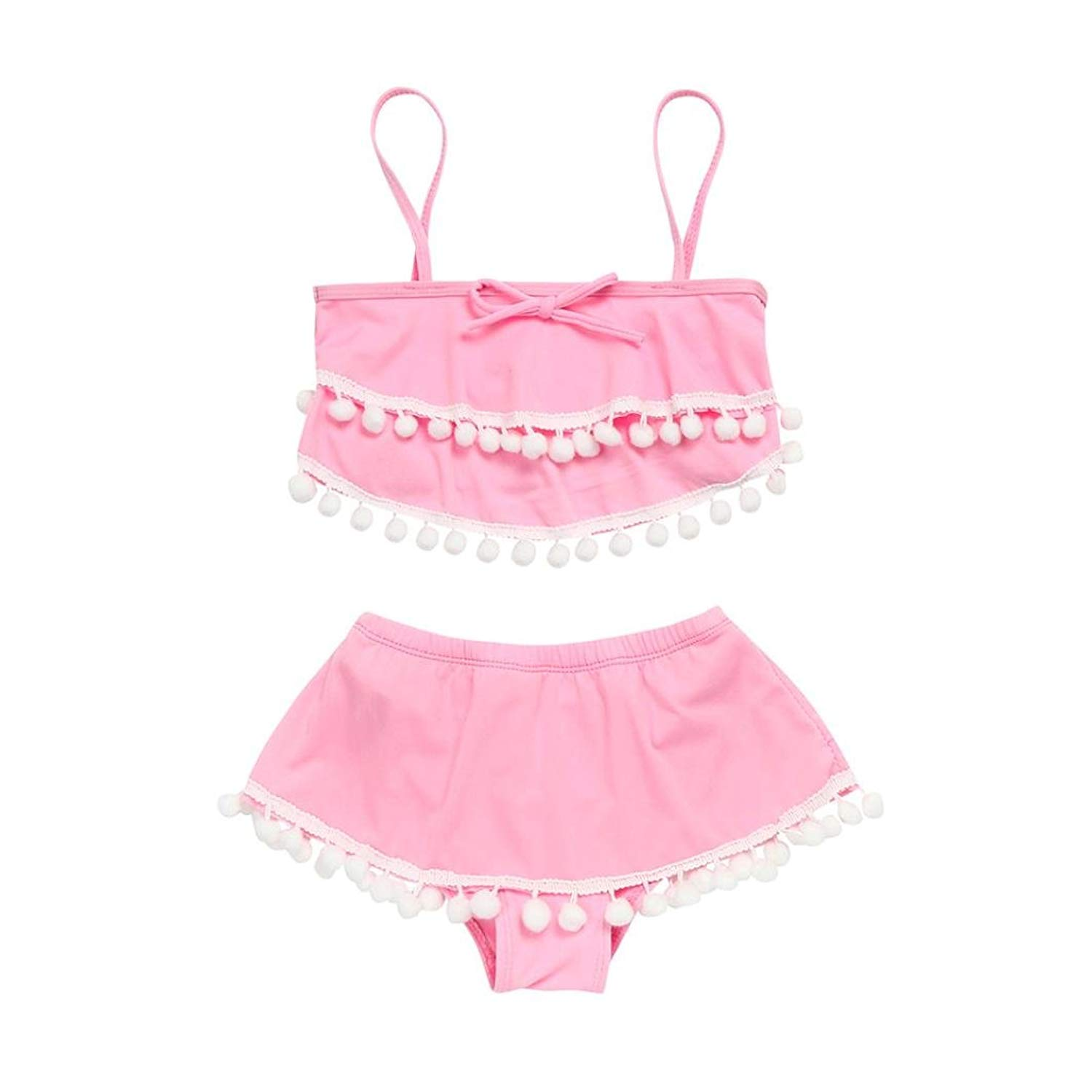 993e94caff Get Quotations · Goodlock Girls Swimsuit, Toddler Kids Baby Girls Tassel  Ball Straps Shorts Swimsuits Bathing Suits Sets