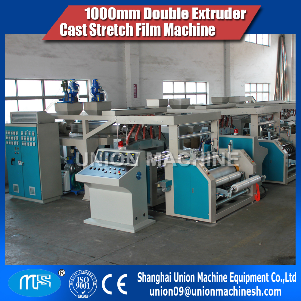1000mm double extruder 2 layer co-extrusion cast stretch film machin