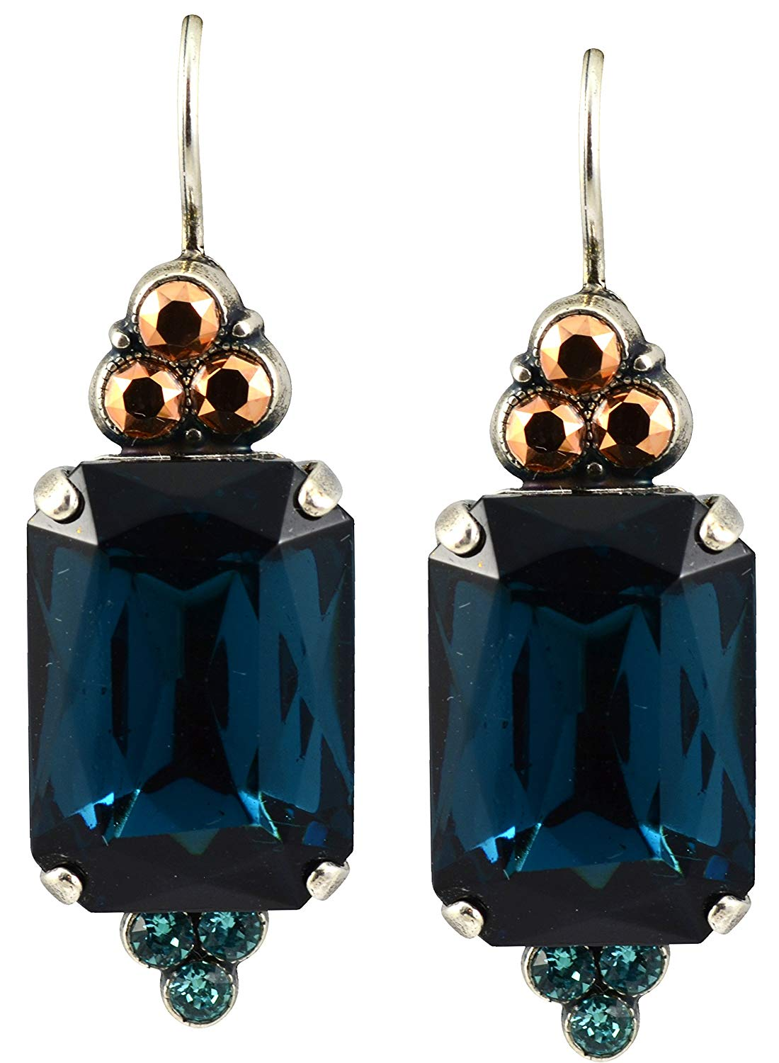 """Mariana """"Blue Suede Shoes"""" Silver Plated Rectangle Crystal Drop Earrings"""