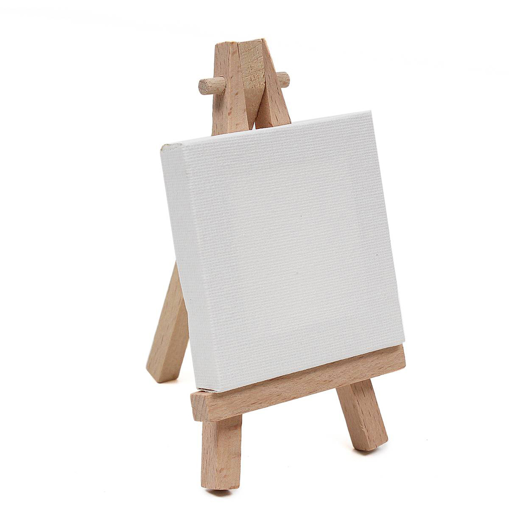 A-frame mini display wooden easel with stretched painting canvas 3.5*6 inch
