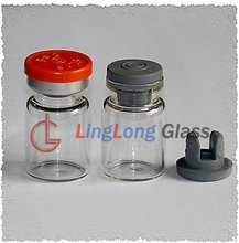 Antibiotic injection glass bottle with butyl rubber and flip top cap