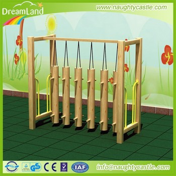 Kids swing bridge play game wooden outdoors play equipment for Wooden swing set with bridge