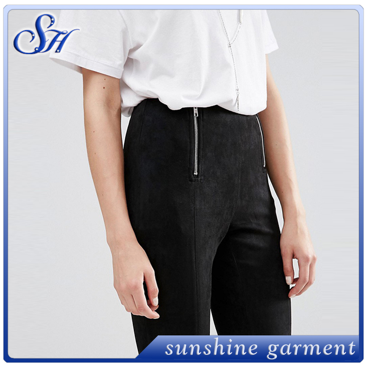 New fashion zipper silm back pants