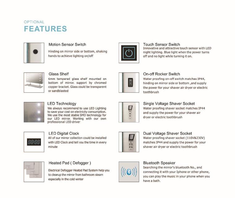 Eterna Modern Fog Free Anti Bluetooth Speaker Bathroom LED Backlight Mirror