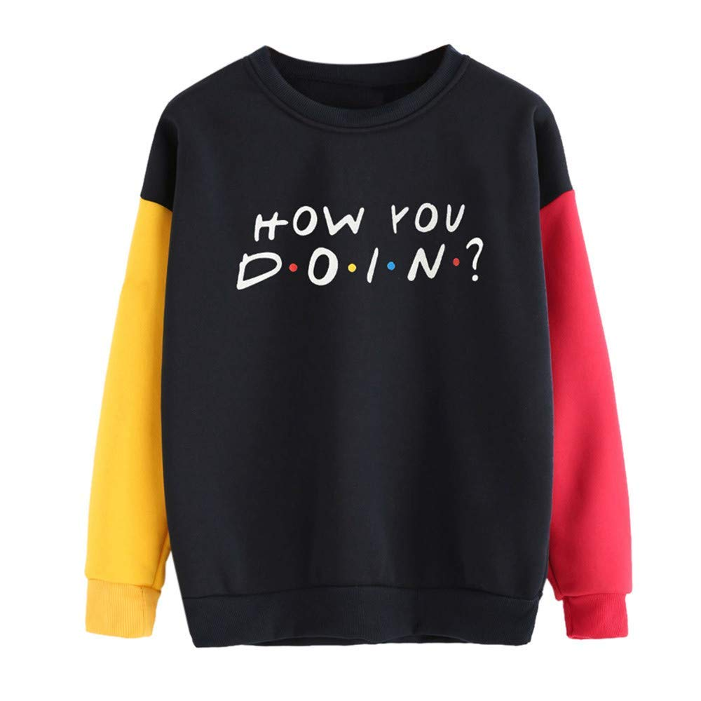 Womens Mens Tops and Blouses Womens Color Block Long Sleeve Letter Print O-Neck Sweatshirt Pullover Top Blouse