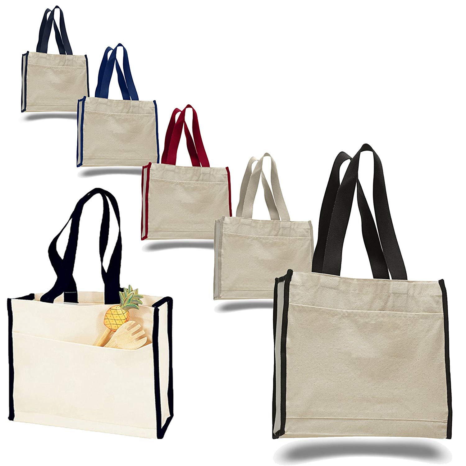 f981369b79 Get Quotations · Heavy Canvas Reusable Tote Bags with Front Pocket