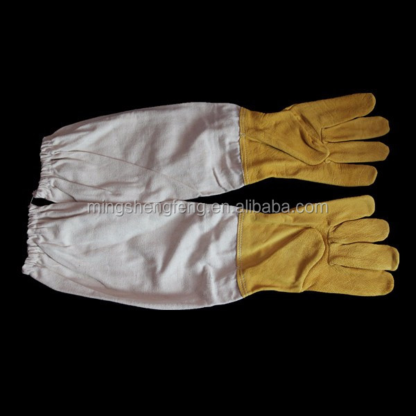 100% cotton beekeeping goatskin beekeeping glove using for protection