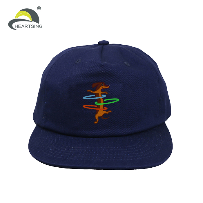 Cool Flat Brim Screen Printing Logo Cotton Twill Unstructured Snapback Hat