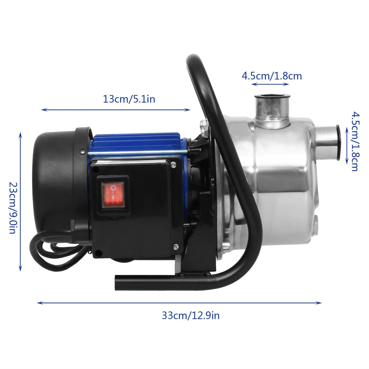 1.6HP Booster Pump Stainless Shallow Well Pump, Automatic ON/OFF for Home Garden Irrigation Water Supply (US Stock) (1.6HP-Blue)