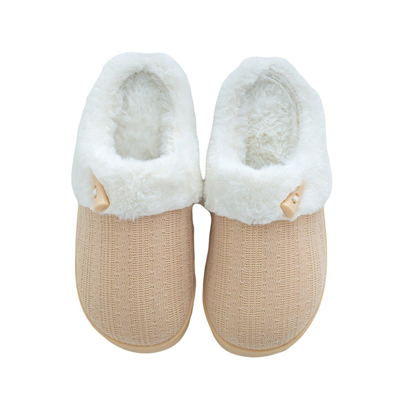 c87e030c23c Get Quotations · Btrada Womens Mens Fluffy Fur Lined Couple Slippers