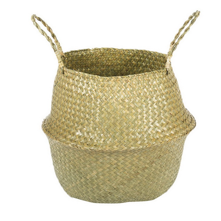 Natural Seagrass Belly Basket Panier Storage basket Plant Pot Collapsible Nursery Laundry Tote Bag/basket with Handles