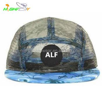 02cdf8fe113b0 Fashion OEM service brand mesh fabric crown custom made 5 panel camp cap  skull cap