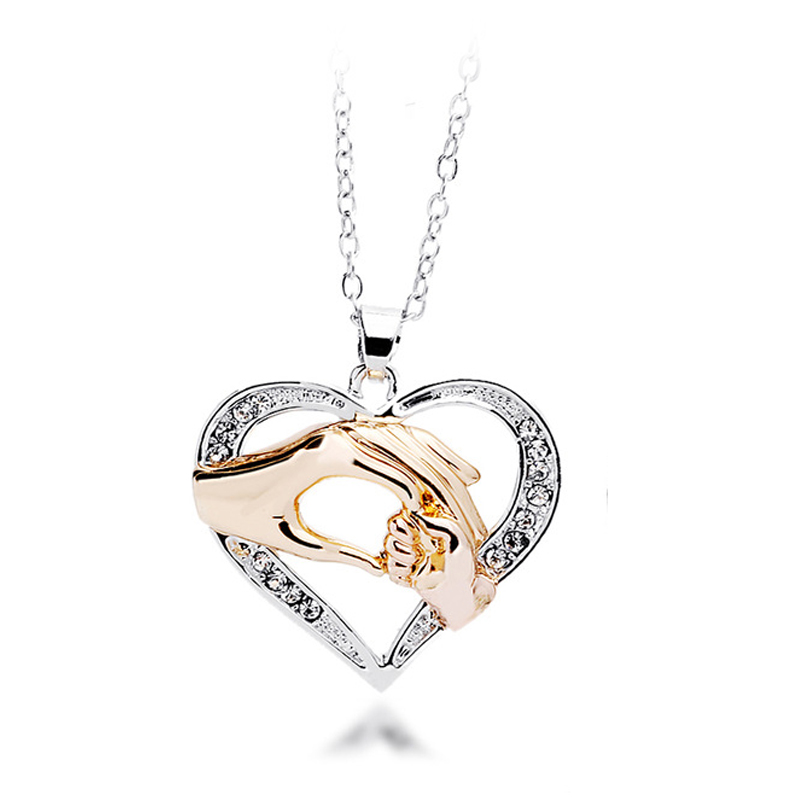 0fd46525a5517 Mothers Day Gift Mother Baby Hand Holding Love Heart Pendant Necklace Rose  Gold Mom Jewelry