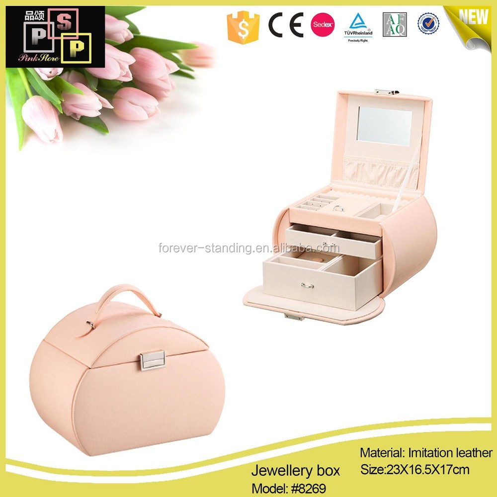 High end custom made pink leather jewelry box packaging
