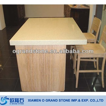 Square Cheap Sparkle Quartz Stone Countertop Beige Kitchen Quartz Countertop
