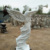 Life size natural stone marble angel statue with trumpet sculpture