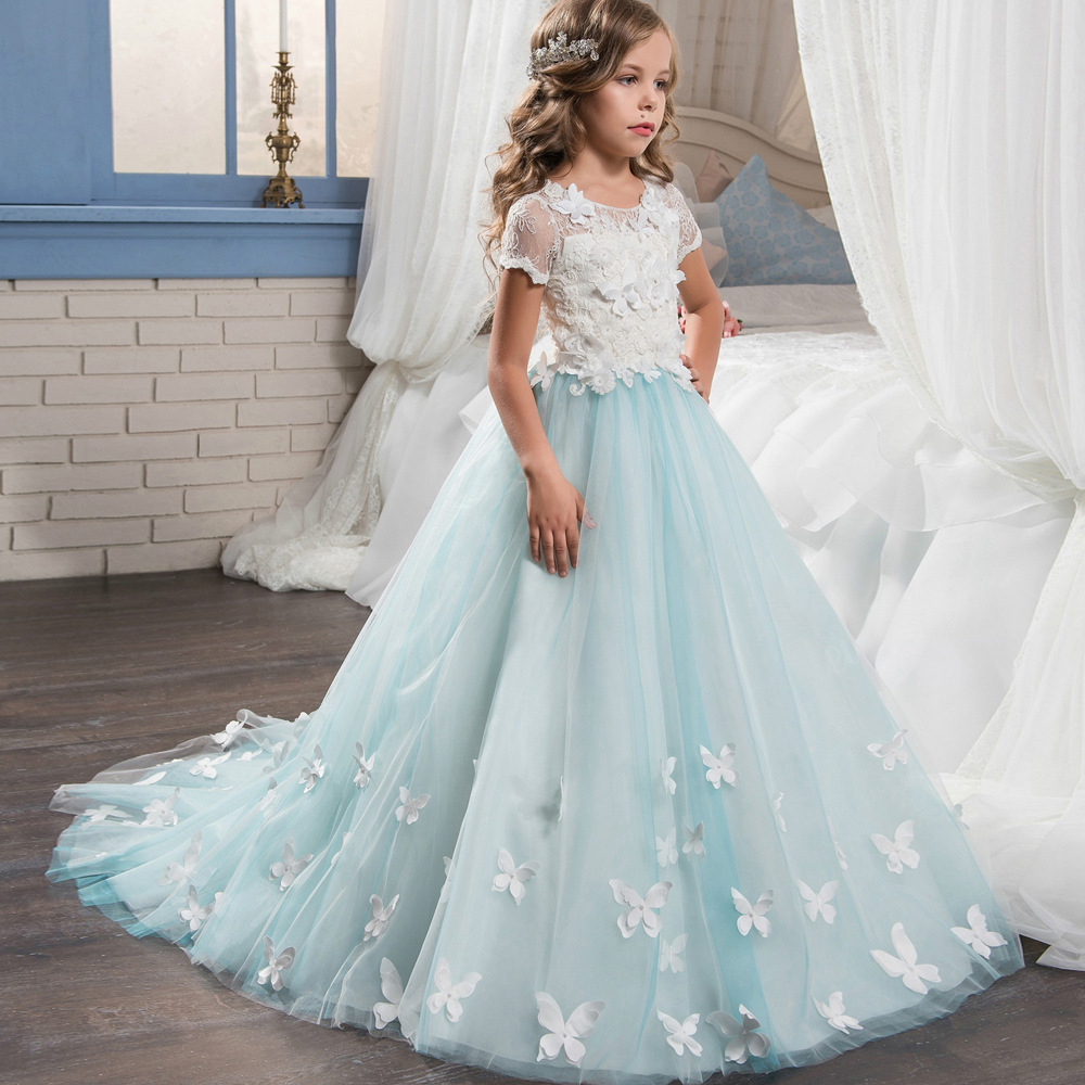 New 2018 tulle lace blue baby bridesmaid flower girl wedding dress fluffy  ball gown birthday evening prom cloth tutu party d dce123b41fb4