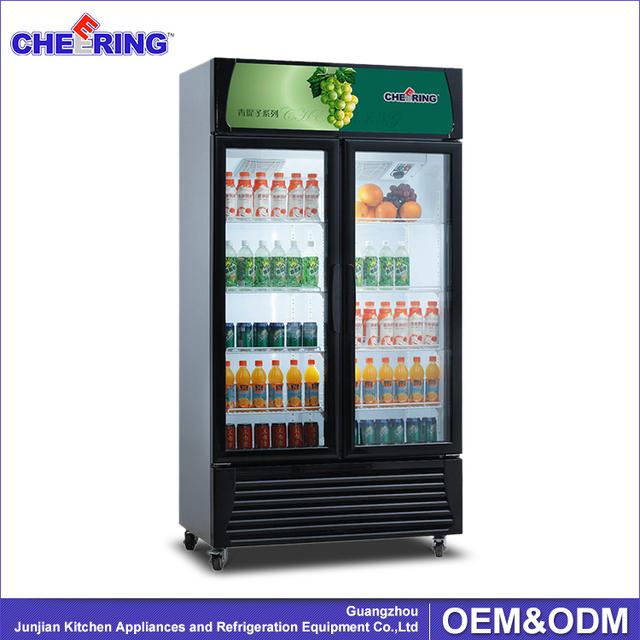 glass door upright merchandiser beer display fridge cooler with caster