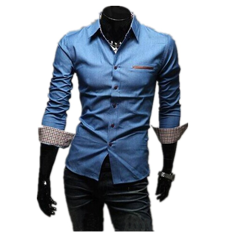 1pc hot sale cheap price fashion 35%cotton and 65% polyester men's denim <strong>shirts</strong> wholesale