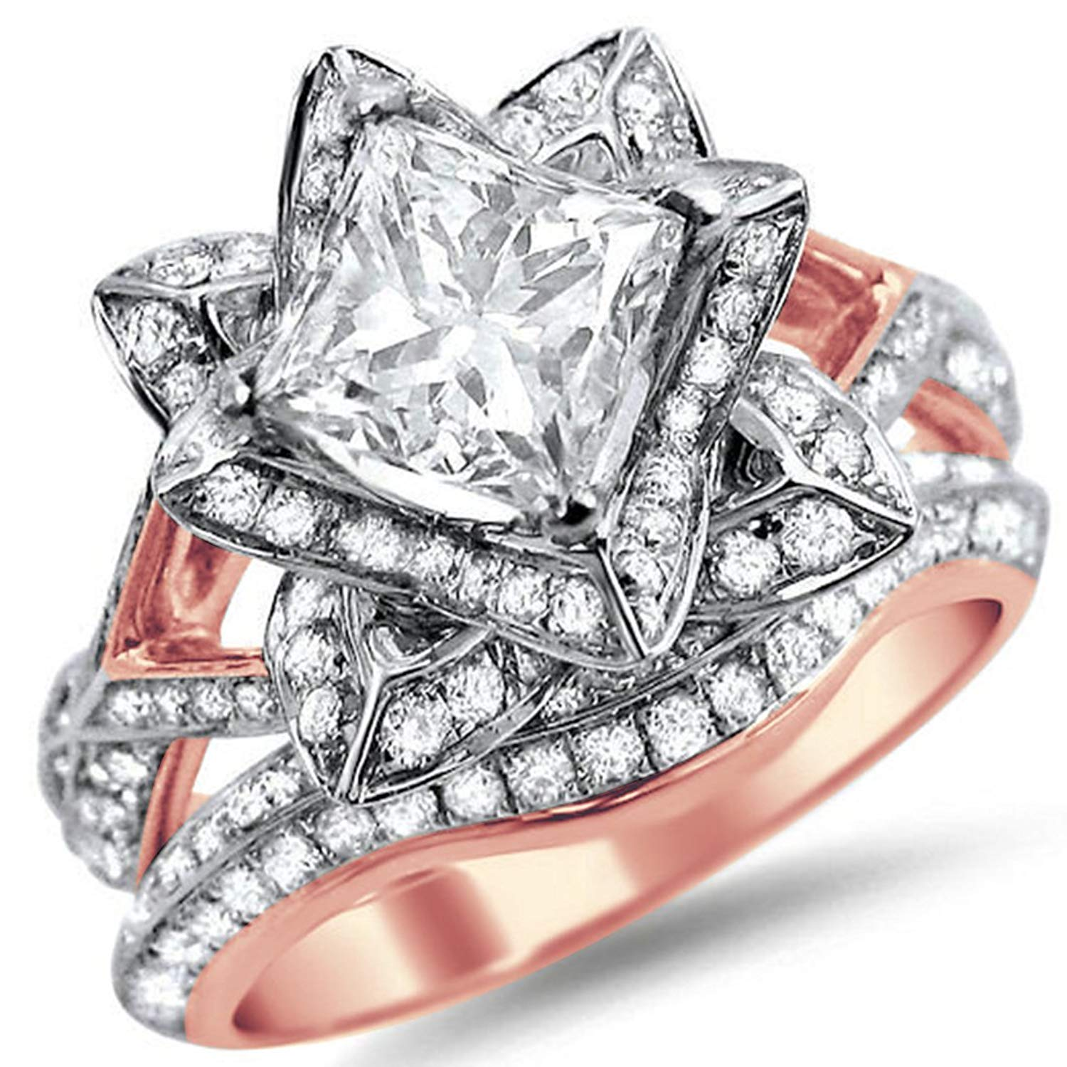 Cheap rose gold engagement rings princess cut find rose gold get quotations silvernshine jewels 205ct lotus cz diamond princess cut flower engagement ring band set in rose izmirmasajfo