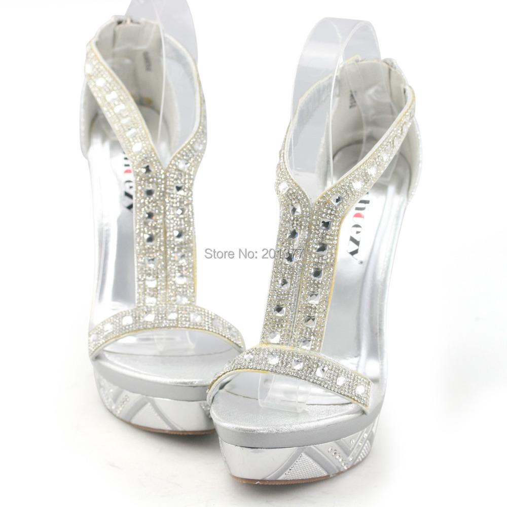 d12859b8b4c Buy Discount shoes SHOEZY brand women  39 s wedding shoe silver glitter  rhinestone ankle strap high platform heels thin stilettos sandal in Cheap  Price on ...