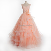 Pretty Orange spaghetti strap formal party dresses ball gown princess evening dreses