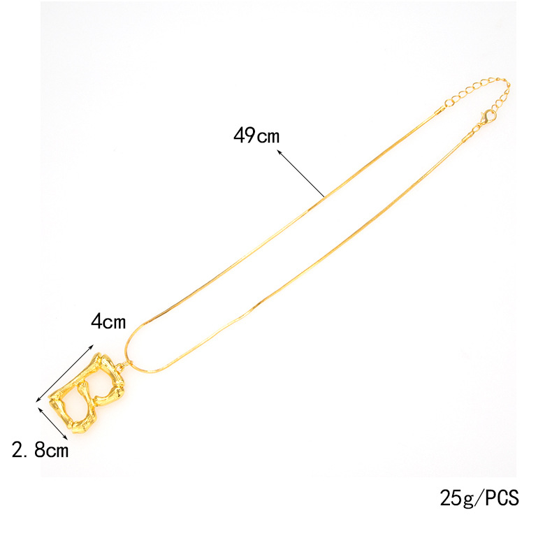 Wholesale Bamboo Letter Necklace Real Gold Plated Statement Bamboo Metal A-Z Letter Initial Alphabet Pendant Necklace