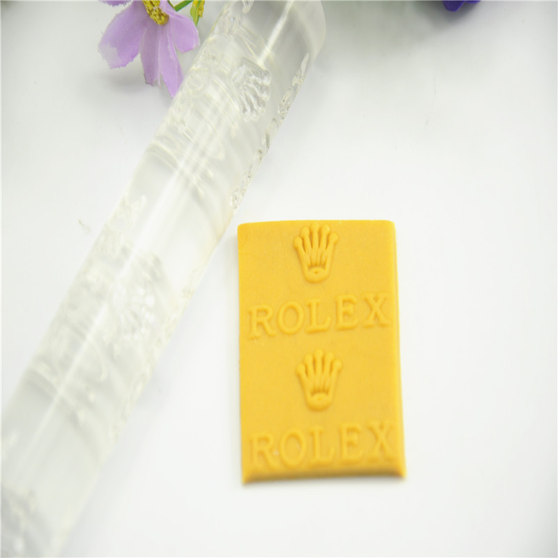 Hot sell Transparent  food-grade Acrylic Imprint rolling pin with Luxury logo for cake and bread cake decoration tool