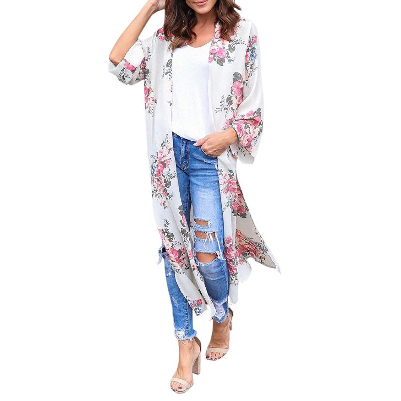 d77ac16c33 Get Quotations · Boomboom Kimono Cardigan, 2018 Women Girls Chiffon Floral Beachwear  Kimono Bikini Boho Long Summer Cardigans