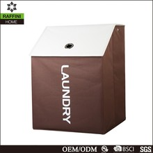 Print Logo Brown Laundry Hamper with Lid