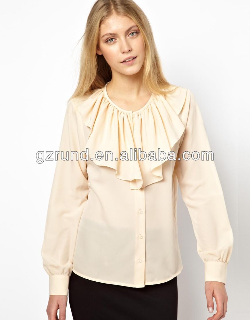 0370e42477874 الشيفون طويلة الأكمام قمم أحدث النساء تصميم ملابس للبنات أزياء الفتيات أعلى