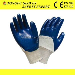 RILIN SAFETY Wholesale Curling machine is let glove have a curl side ,film latex coated glove EN420 EN388 for Europe ,USA market