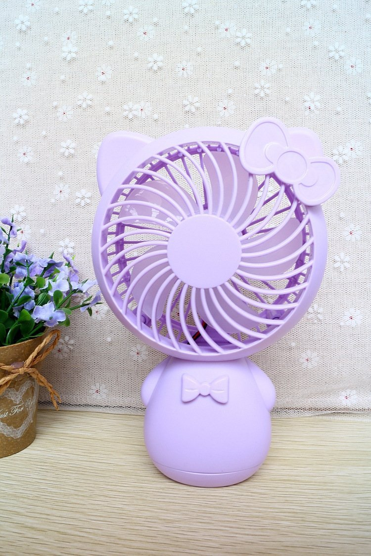 YOLOPLUS Portable Mini Cooling Fan Multipurpose Low Noise Blower Handheld Outdoor Fan with Rechargeable Battery USB Powered for Babies & School Kids Office Desktop PC Laptop and Travel (Kitty Purple)